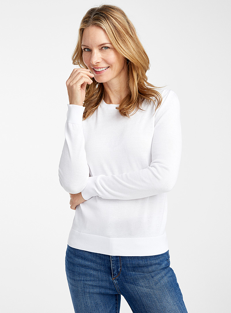 Contemporaine White Lightweight ruffle-shoulder sweater for women