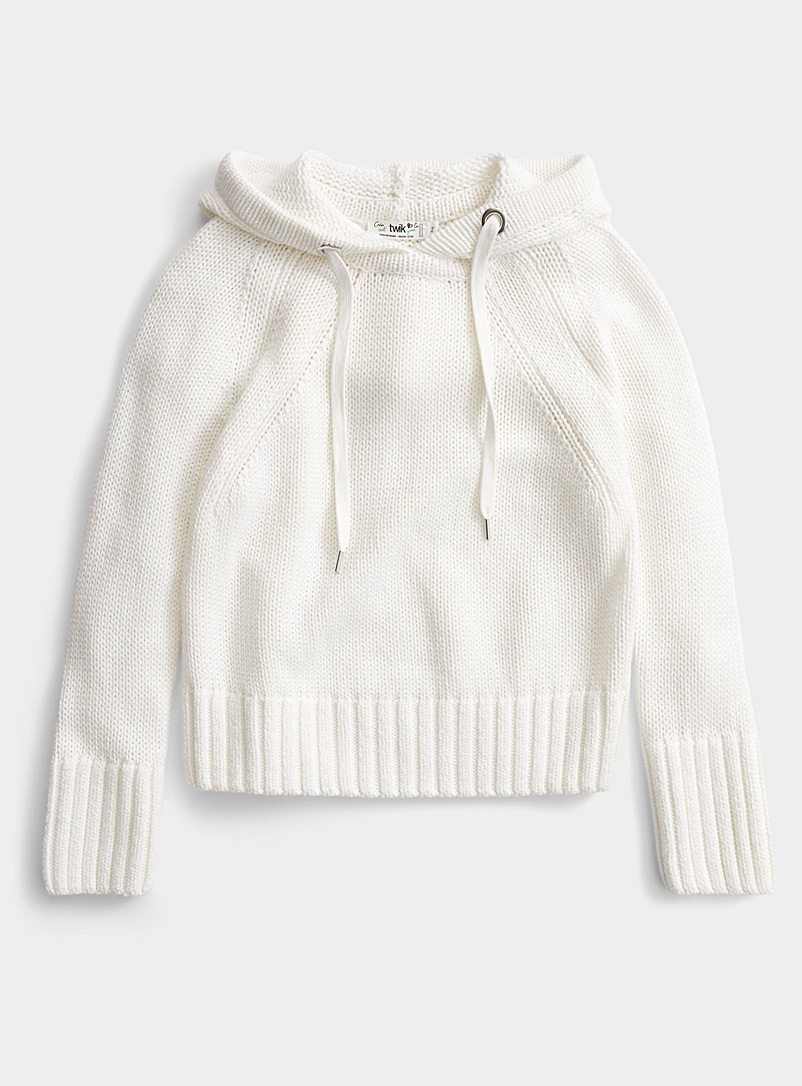 Twik Ivory White Organic cotton cropped sweatshirt sweater for women