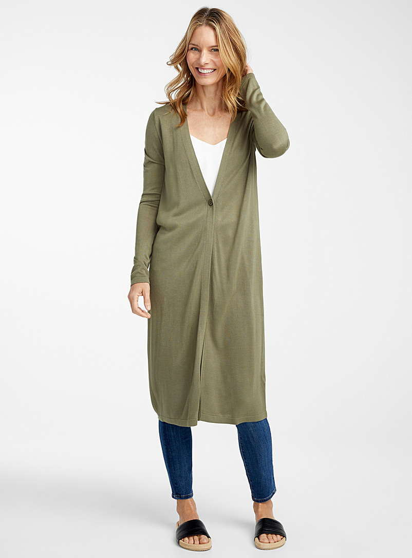 Contemporaine Mossy Green Long single-button cardigan for women