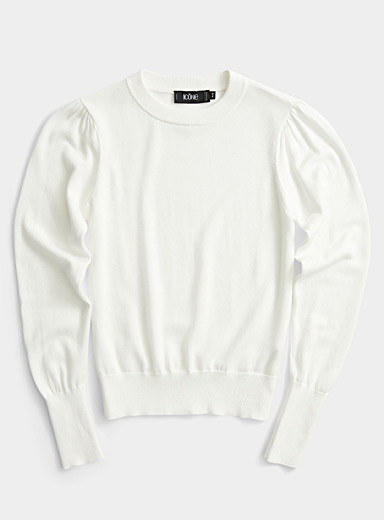 Organic cotton and modal puff-sleeve sweater