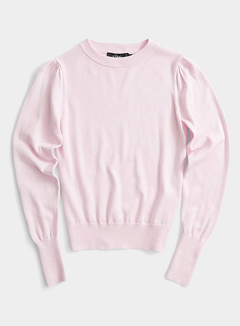 Ic?ne Pink Organic cotton and TENCEL* Modal puff-sleeve sweater for women