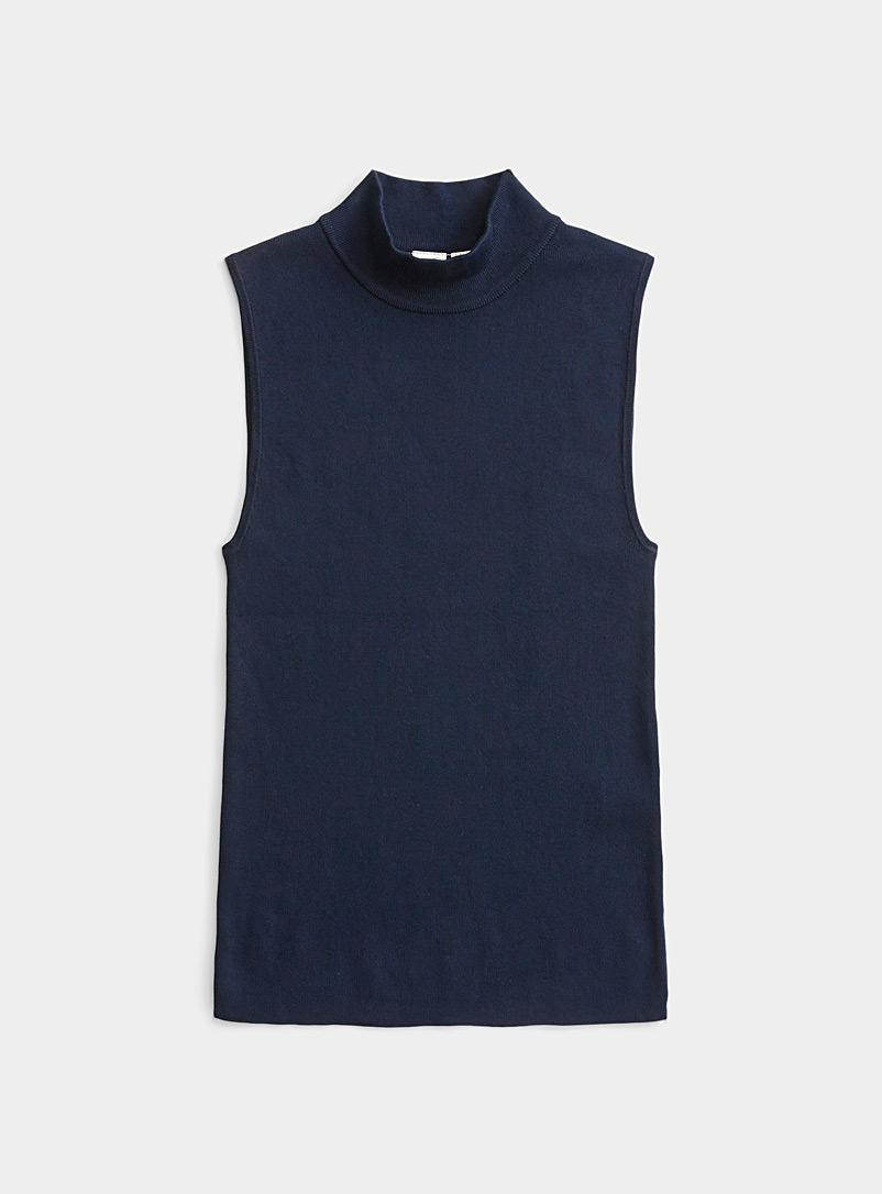 Twik Marine Blue Fitted mock neck cami for women