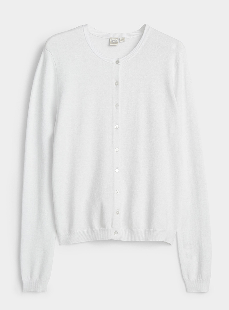 Twik White Crew neck buttoned cardigan for women