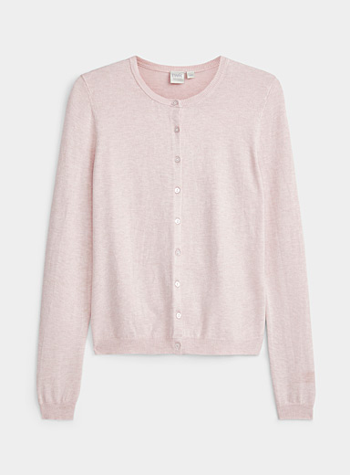 Twik Dusky Pink Crew neck buttoned cardigan for women