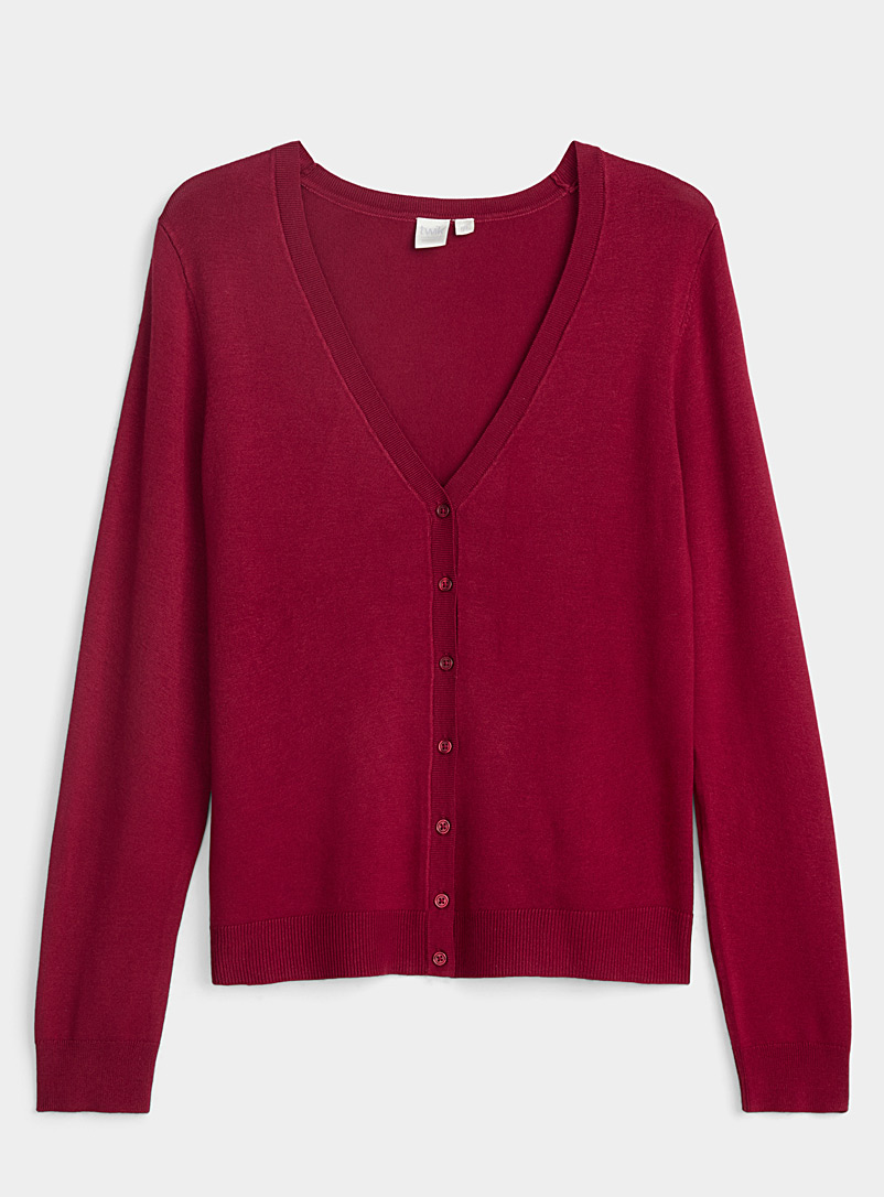 Twik Ruby Red V-neck buttoned cardigan for women