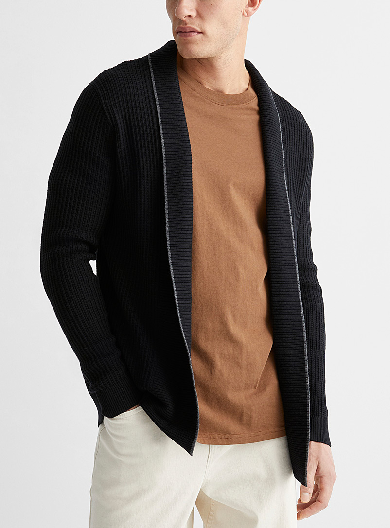 Le 31 Black Trimmed open cardigan for men