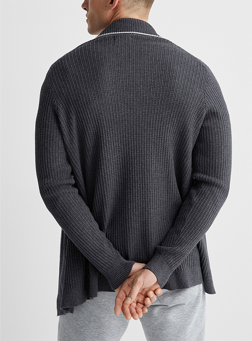 Le 31 Charcoal Trimmed open cardigan for men