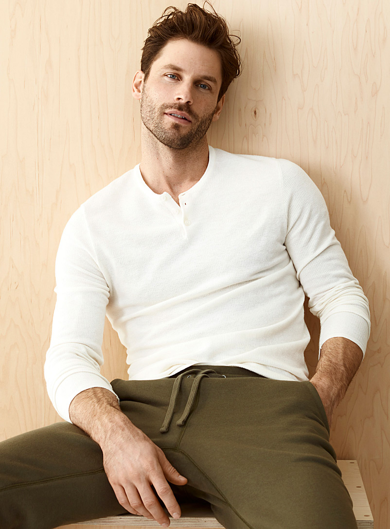 Le 31 Ivory White Organic cotton Henley sweater for men