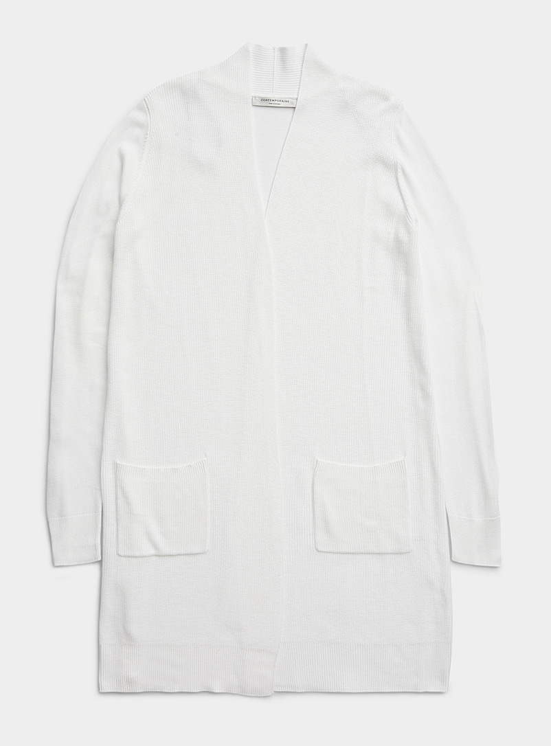 Contemporaine White Long fluid open cardigan for women