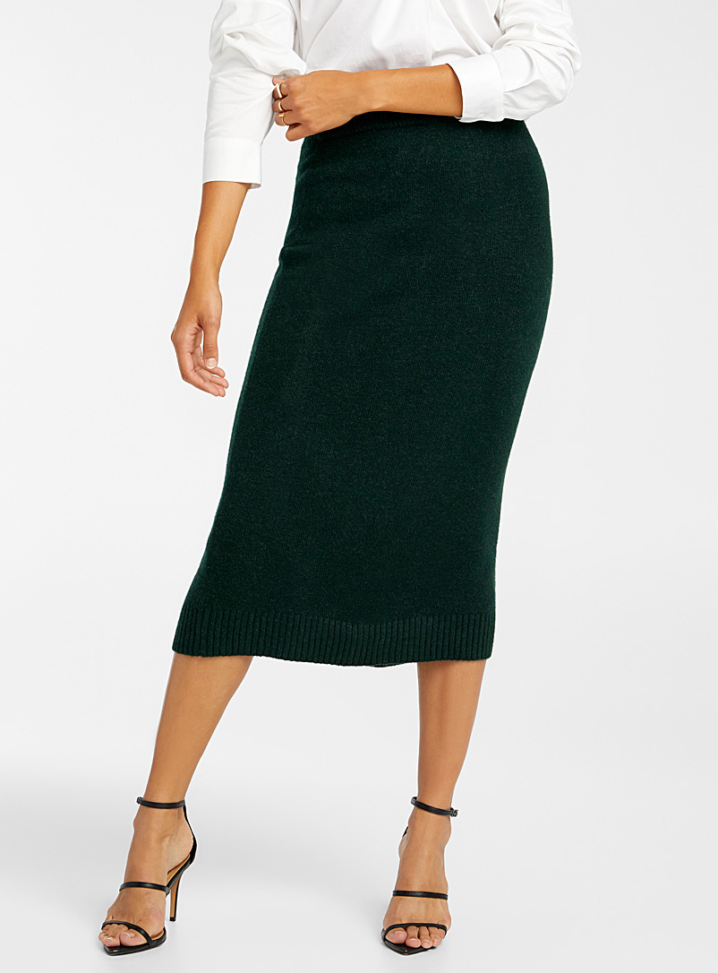 Icône Green Knit midi skirt for women