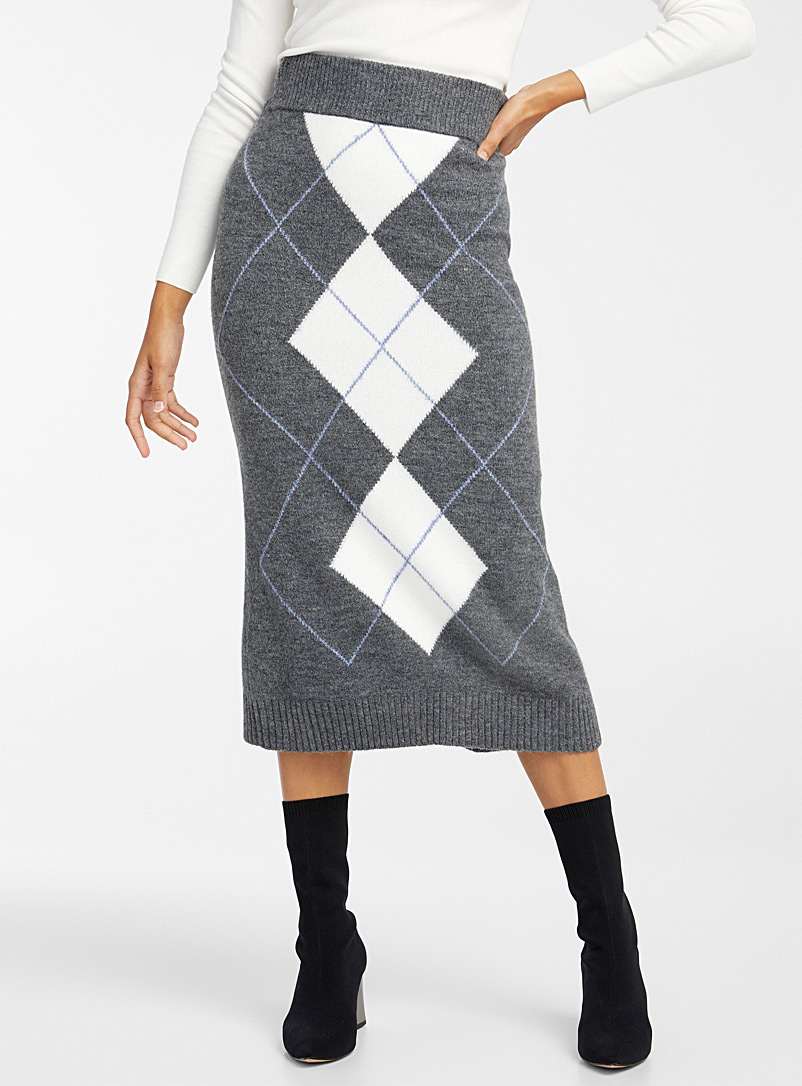 Icône Patterned Grey Knit midi skirt for women