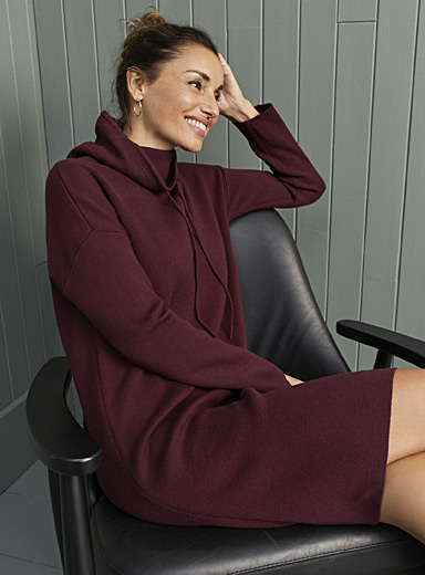 Contemporaine Ruby Red Drawstring cowl-neck knit dress for women