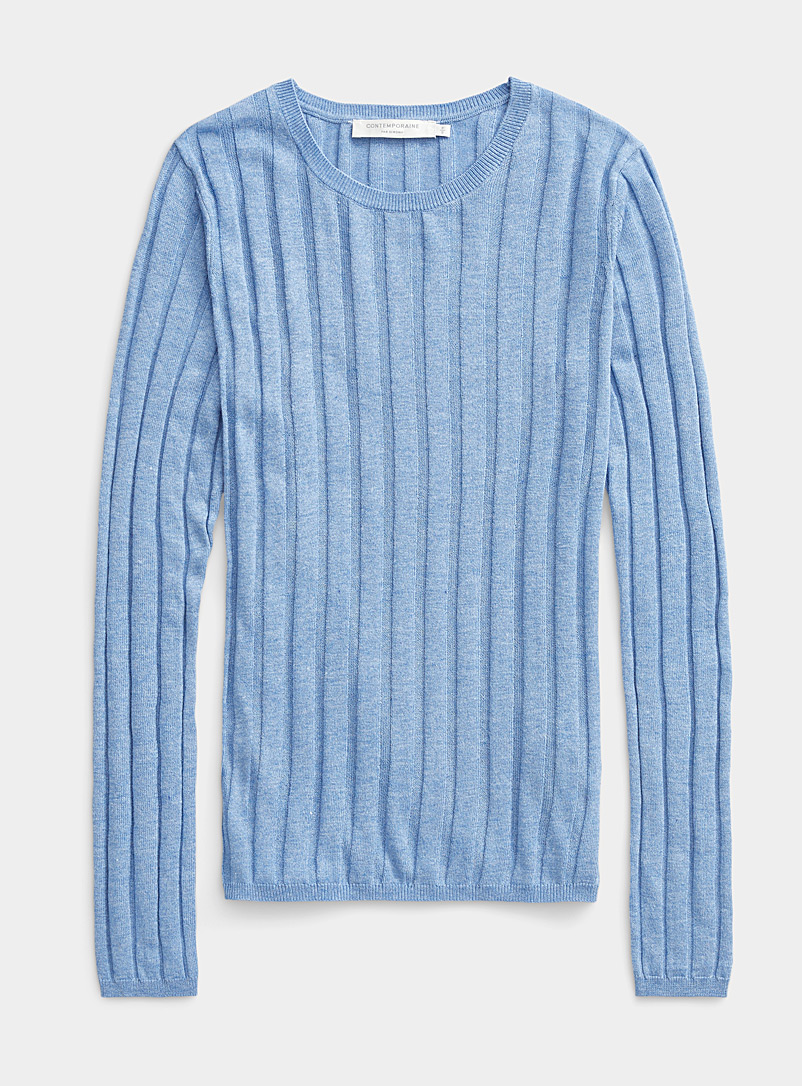Contemporaine Baby Blue Wide-rib crew-neck sweater for women