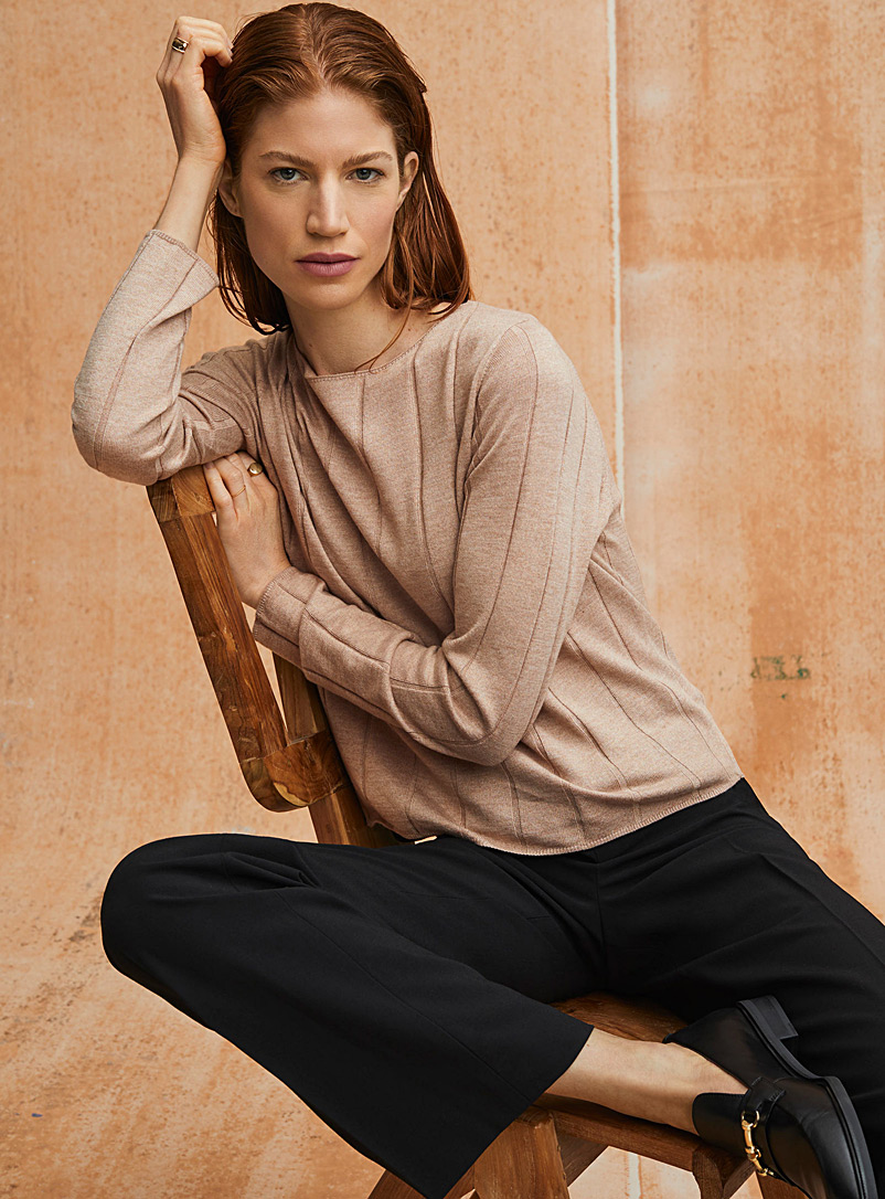 Contemporaine Honey Cropped wide-ribbed sweater for women