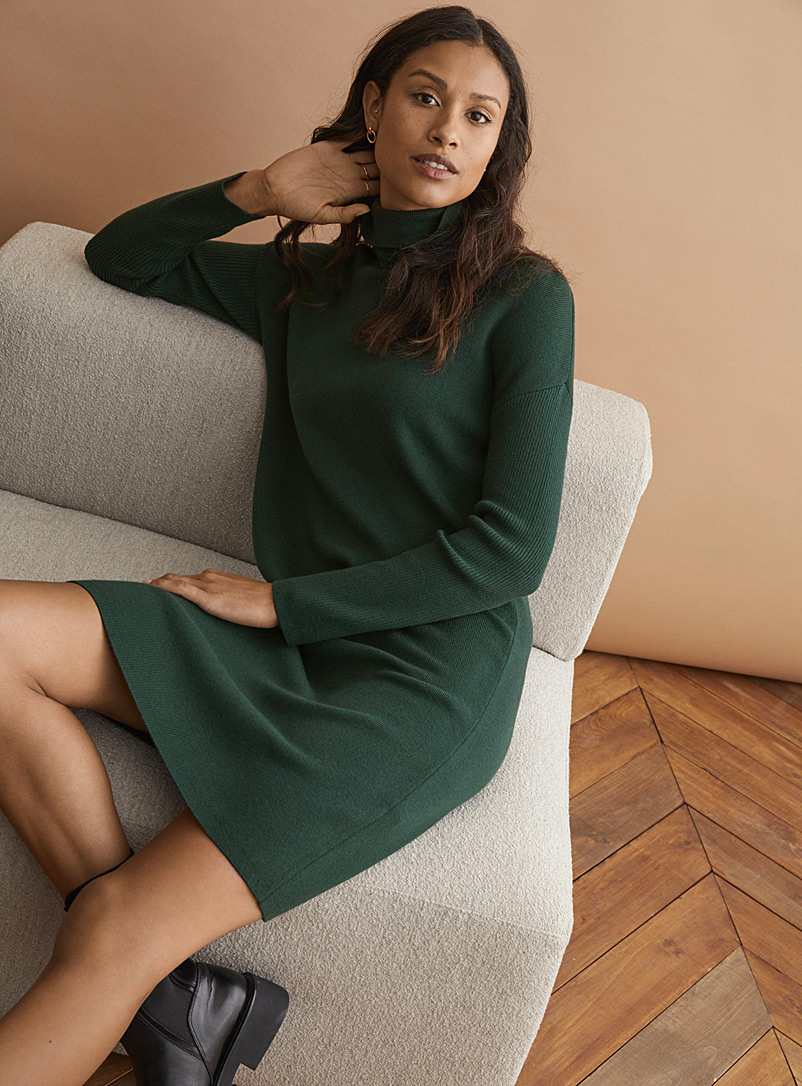 Contemporaine Mossy Green Hint of cashmere turtleneck dress for women