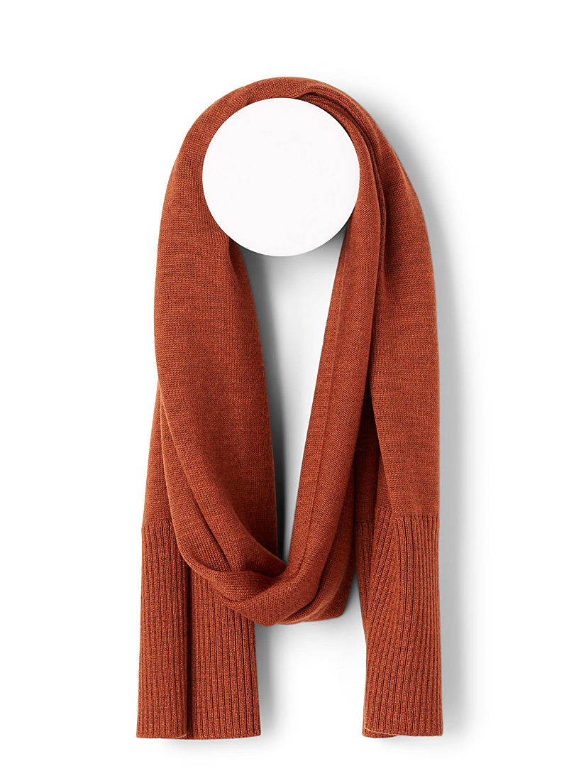 Simons Dark Orange Responsible merino wool scarf for women