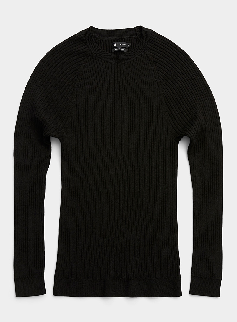 Ribbed raglan-sleeve sweater