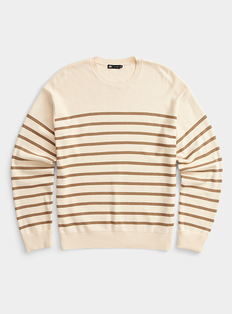 Le 31 Patterned White Sailor stripe sweater for men