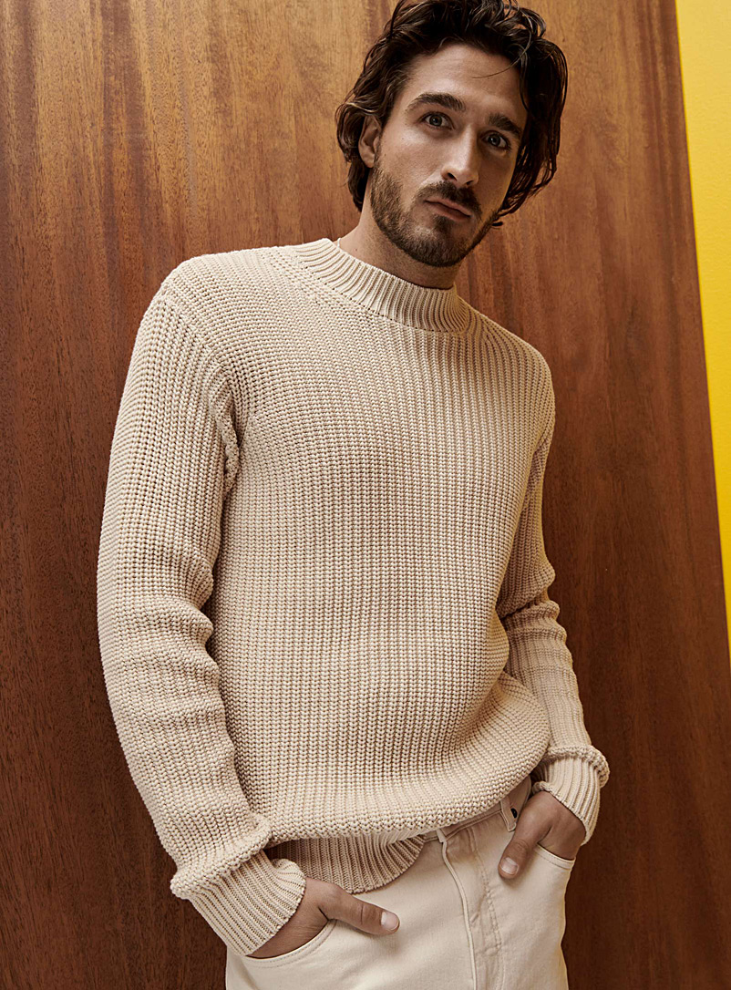 Ribbed mock-neck sweater