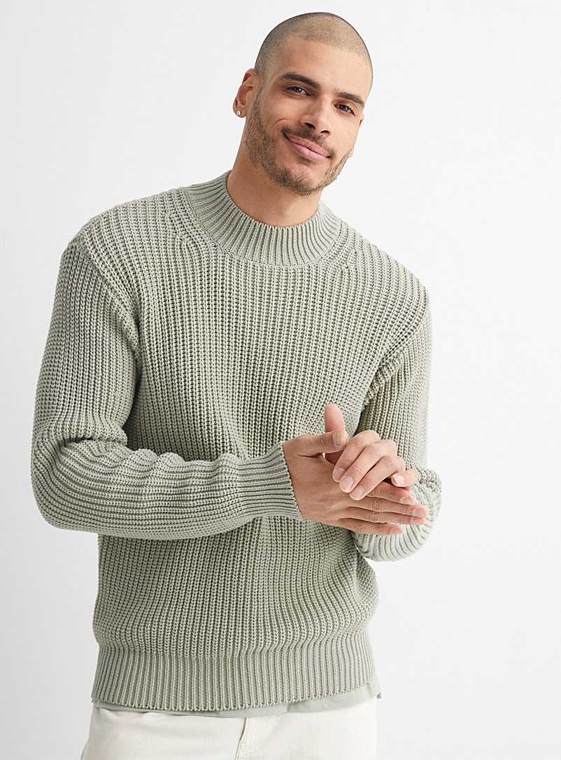 Le 31 Lime Green Ribbed mock-neck sweater for men