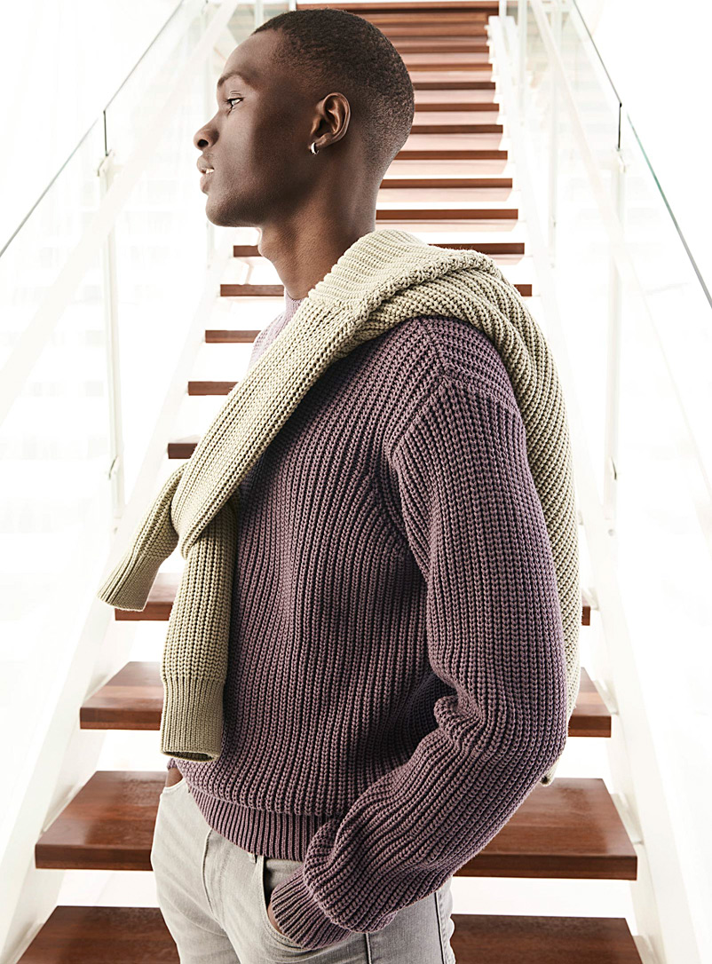 Le 31 Lilacs Ribbed mock-neck sweater for men