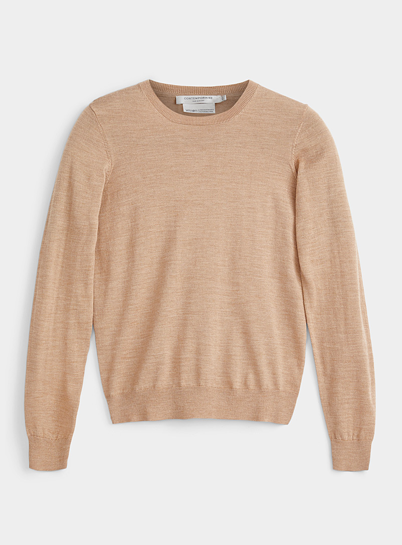 Contemporaine Honey Responsible merino wool crew-neck sweater for women