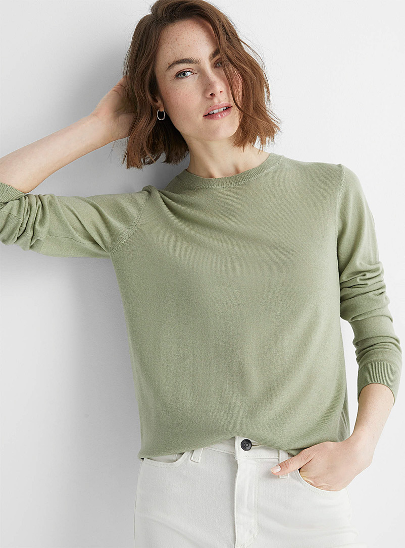 Contemporaine Lime Green Responsible merino wool crew-neck sweater for women