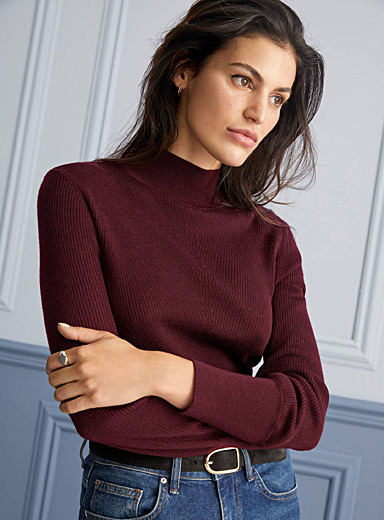 Contemporaine Dark Crimson Responsible merino ribbed mock neck for women
