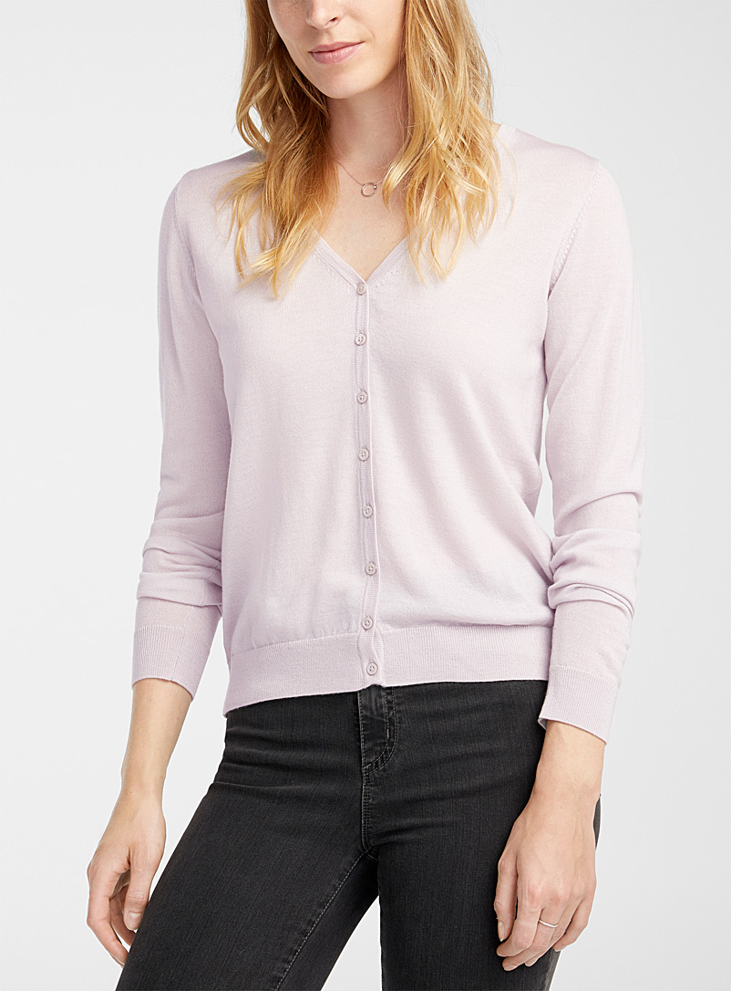 Contemporaine Sand Responsible merino V-neck cardigan for women