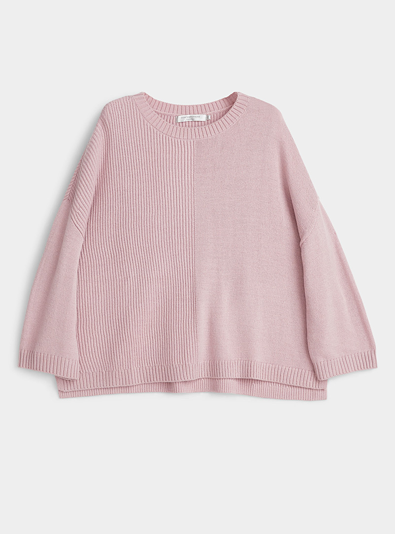 Contemporaine Pink Ribbed block loose sweater for women