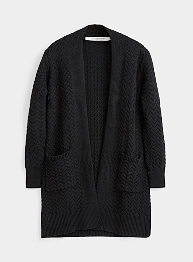 Contemporaine Black Braided knit open cardigan for women