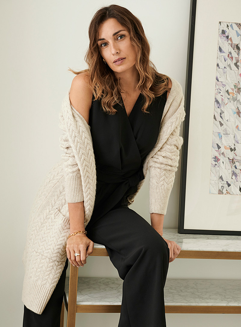 Braided knit open-front cardigan