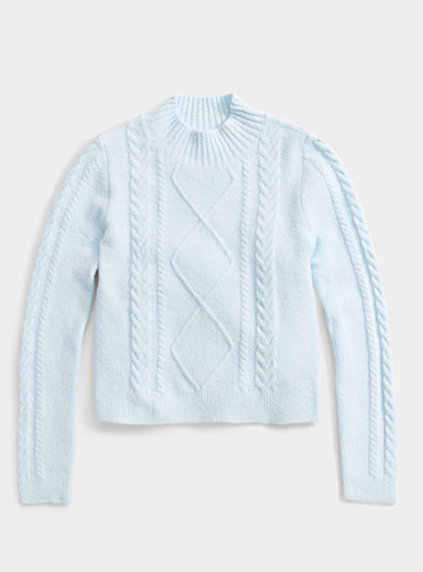 Twik Baby Blue Cable and diamond cropped mock neck for women