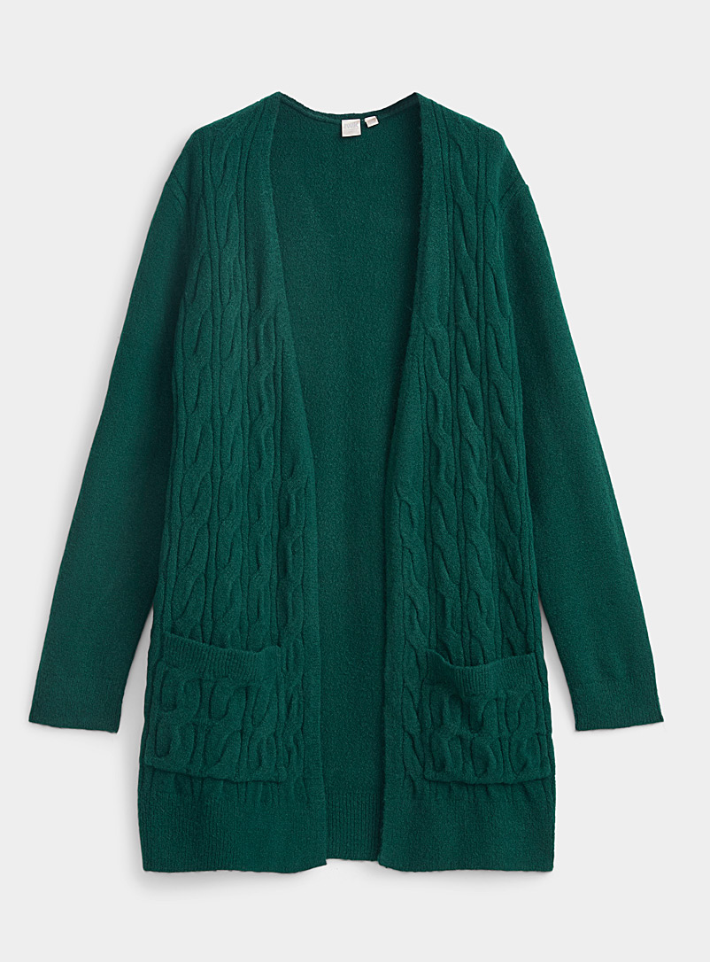 Twik Green Long vertical cable cardigan for women