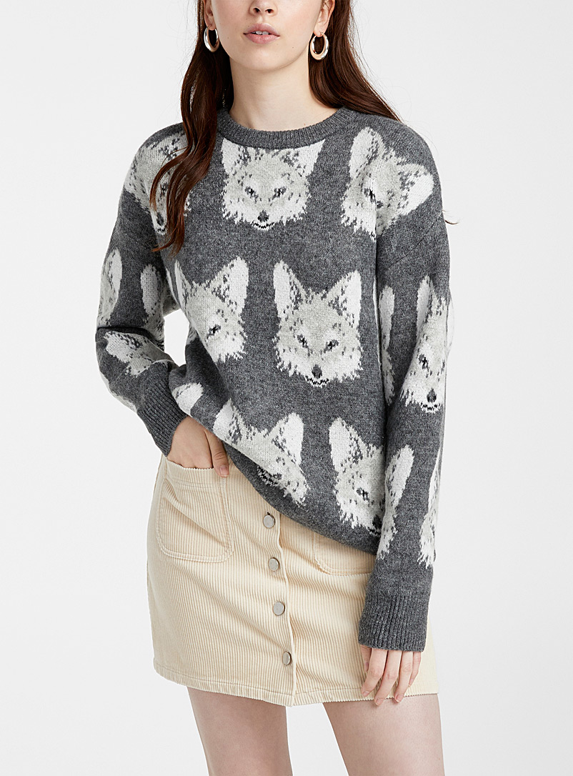 Twik Charcoal Fox jacquard sweater for women
