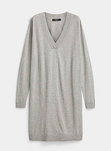 Icône Grey Cashmere touch V-neck sweater dress for women