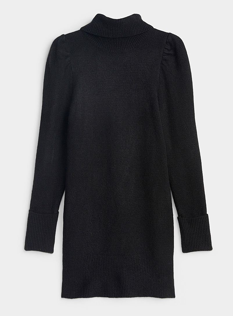 Icône Black Puff-shoulder sweater dress for women