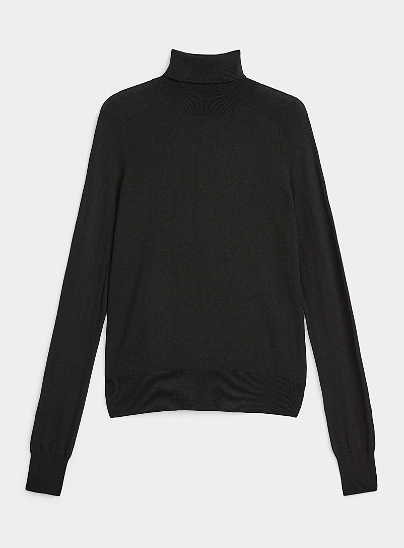 Icône Black Cashmere blend turtleneck for women