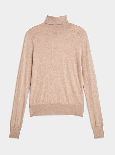 Icône Cream Beige Cashmere blend turtleneck for women