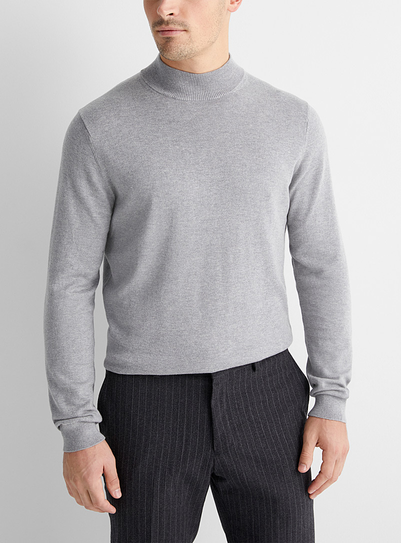 Le 31 Grey TENCEL* Modal mock neck sweater for men