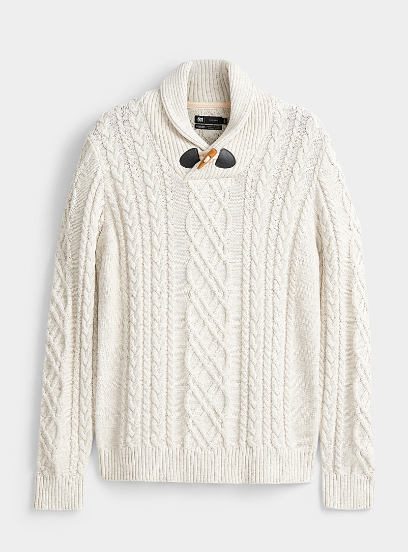 Le 31 Ivory White Nautical cable-knit organic cotton sweater for men