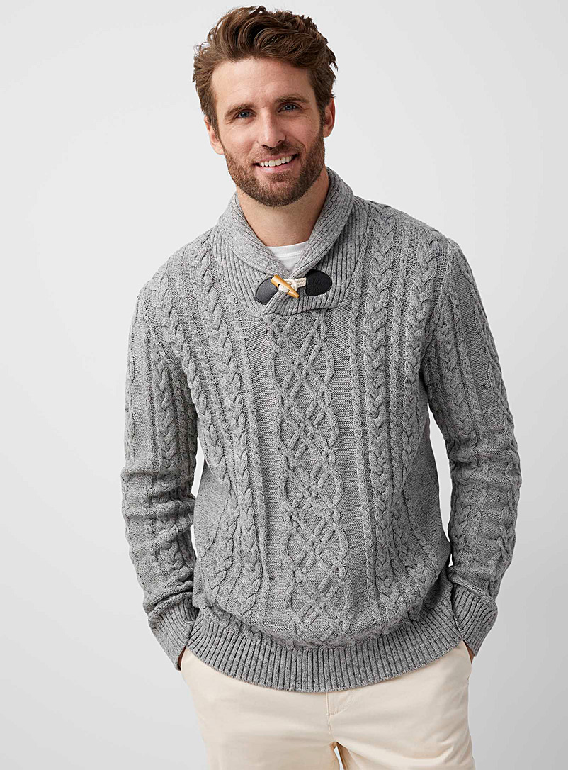 Le 31 Oxford Nautical cable-knit organic cotton sweater for men