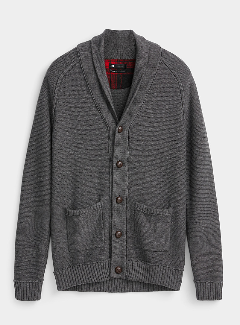 Organic cotton shawl collar cardigan