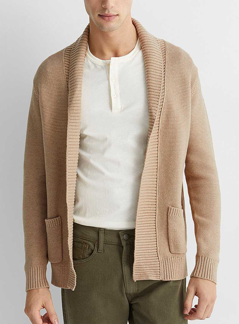Le 31 Tan Organic cotton knit open cardigan for men