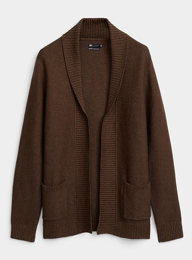 Le 31 Dark Brown Organic cotton knit open cardigan for men