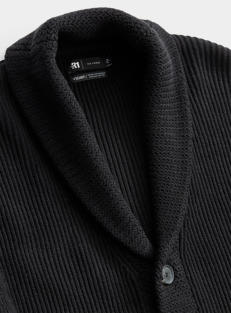 Le 31 Black Organic cotton shawl-collar ribbed cardigan for men