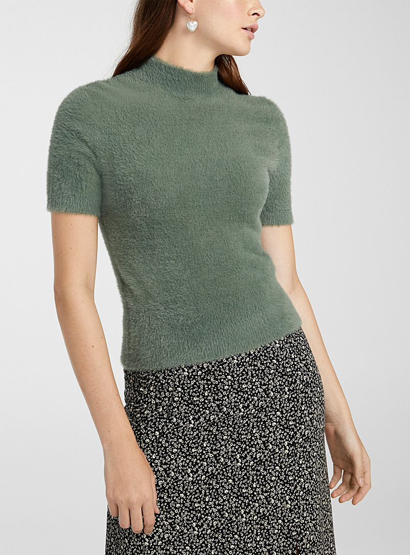 Twik Green Cropped chenille mock neck for women