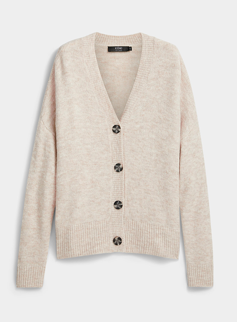 Icône Sand Marbled buttoned cardigan for women