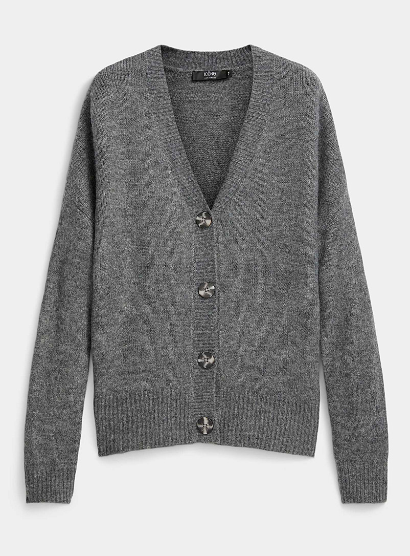 Icône Charcoal Marbled buttoned cardigan for women