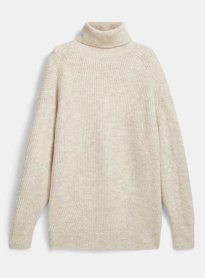 Ic?ne Sand Loose ribbed turtleneck sweater for women